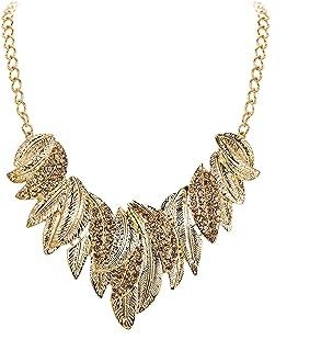 Flyonce Leaf Choker Necklace for Women Crystal Vintage Boho Floral Cluster Chunky Necklace