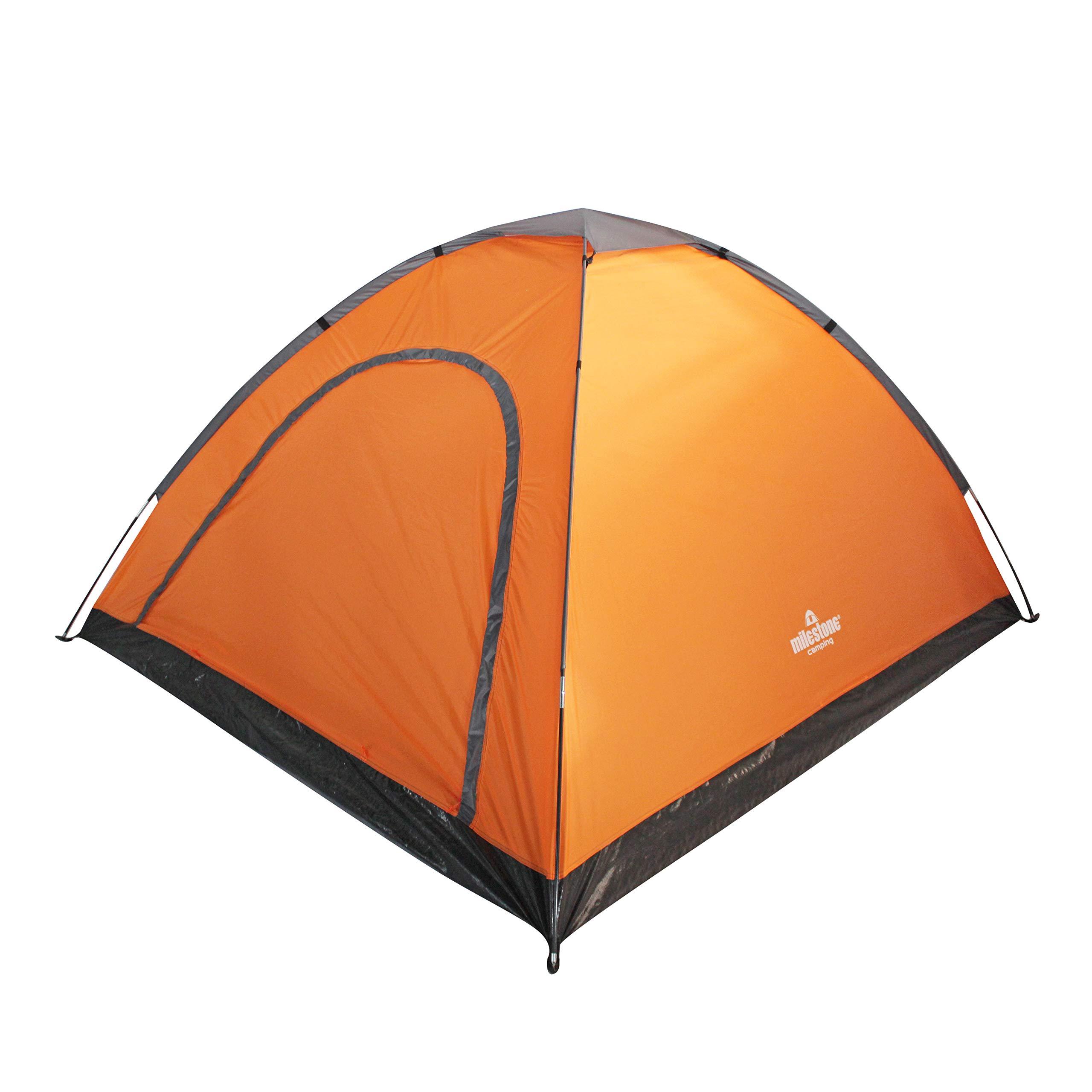 Milestone Camping 18849 Camping 18849-Tienda de campaña para 4 Personas con Bolsa de Almacenamiento, Unisex Adulto, Naranja y Gris, H130 x W210 x D240cm: Amazon.es: Deportes y aire libre