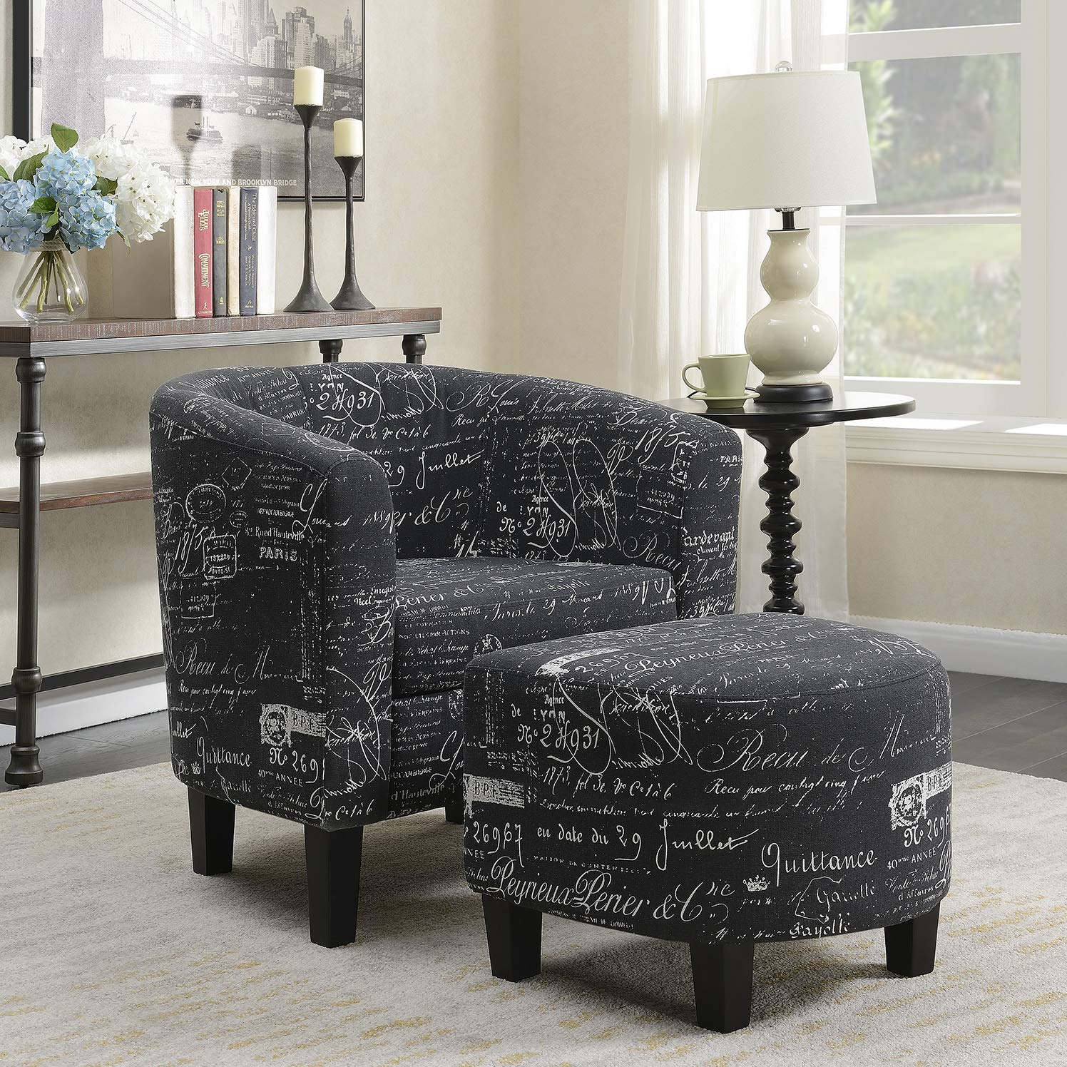 accent chair with ottoman amazon combelleze accent club chair with ottoman modern stylish round arms curved back french print script linen