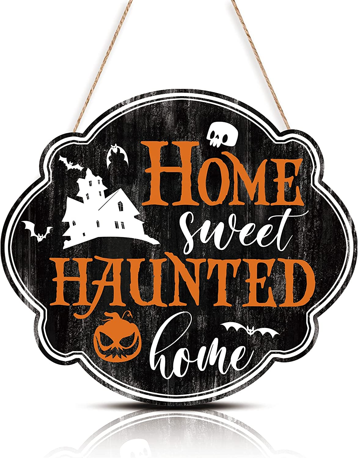 FWIEXA Halloween Decorations Funny Home Sweet Haunted Home Wood Sign Plaque (12.1