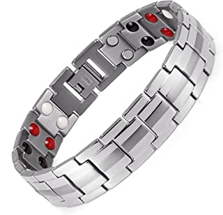 Lifestyle Titanium Magnetic Therapy Bracelet For Men Pain Relief for Arthritis and Carpal Tunnel Magnets far infrared germanium negative Ion bracelet .(Double Magnets) Mother's Father's Day Gift