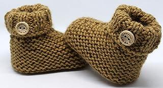 Patucos para bebé de crochet, Unisex. Estilo botas Japón, color a elegir, realizadas en lana, tallas de 0 hasta 9 meses, h...