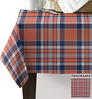 Beauty Decor Buffalo Plaid Tablecloths Washable Fabric Rectangle Table Cloth Cover for Kitchen Dinning Tabletop Decoration Orange Blue Checkered Check Pattern Nordic Geometry Grid 60x90inch