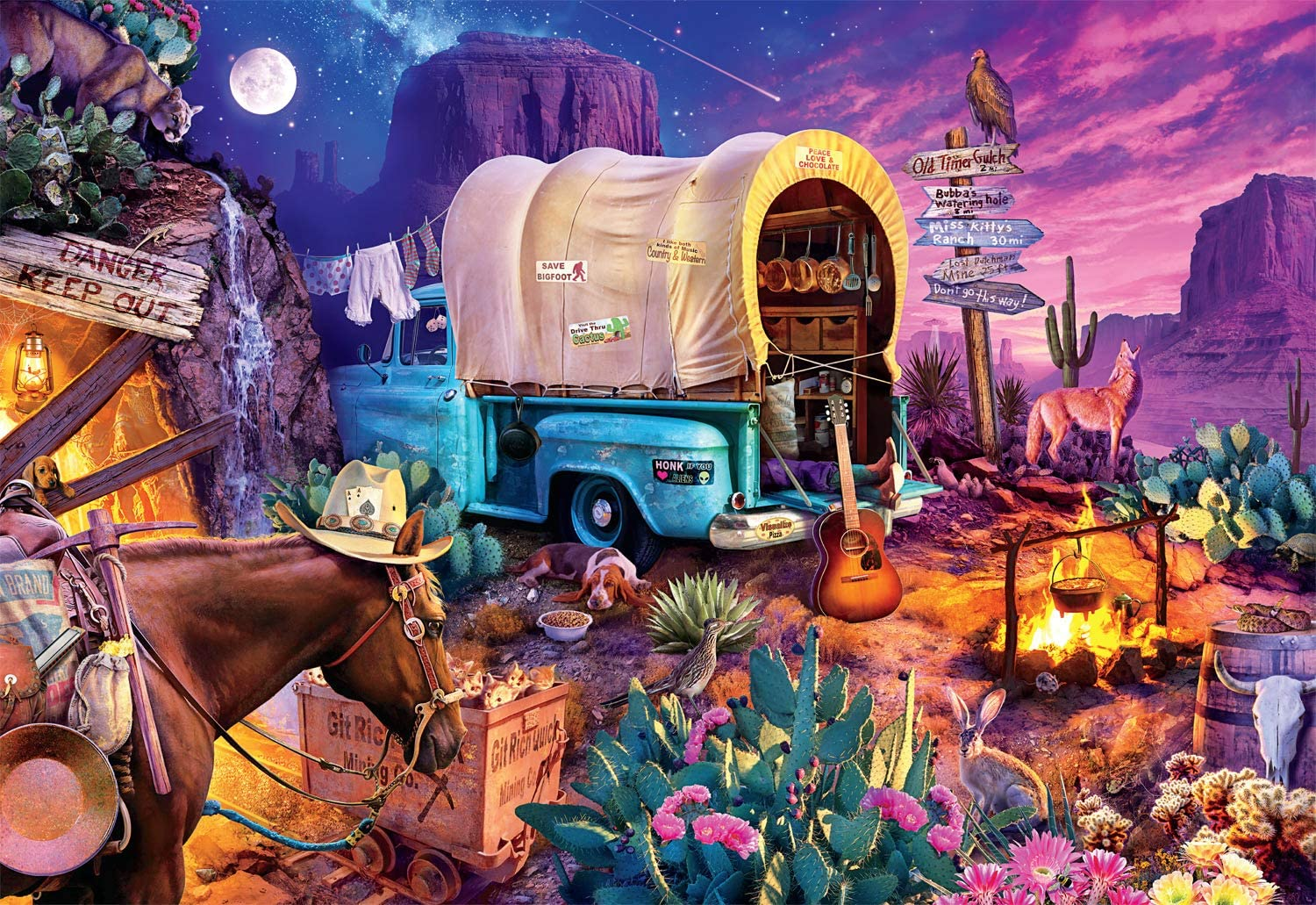 Buffalo Games - Wild West Camp with H Piece service Jigsaw 2000 Puzzle half