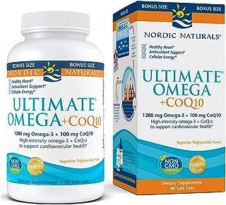 Nordic Naturals Ultimate Omega + CoQ10, Lemon - 90 Soft Gels - 1280 mg Omega-3 + 100 mg CoQ10 - Heart Health, Cellular Ene...