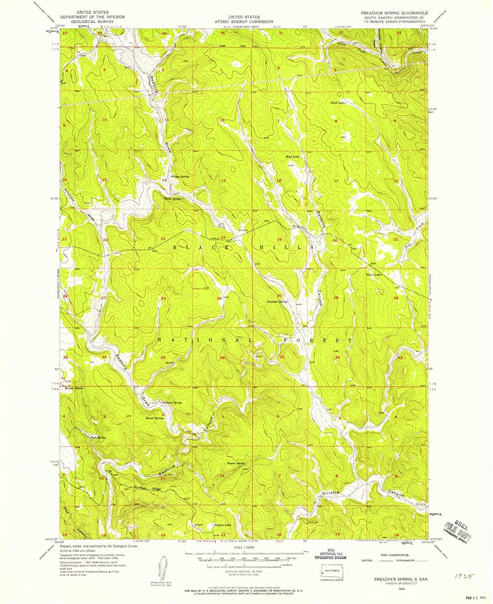 YellowMaps Preacher Spring SD topo map, 1:24000 Scale, 7.5 X 7.5 Minute, Historical, 1956, Updated 1958, 26.9 x 22 in
