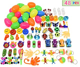 Toys Filled Easter Eggs, 48 Pieces - Filled Surprise Eggs, Colorful Prefilled Plastic Easter Eggs with Different Kinds of Little Toys – Perfect for Easter Egg Hunt for Kids