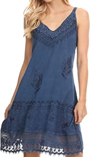 Ameelynn Short Embroidered Batik Festival Sleeveless Spaghetti Strap Dress
