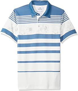 Amazon Brand - 28 Palms Men's Standard-Fit Performance Cotton Tropical Print Pique Golf Polo Shirt