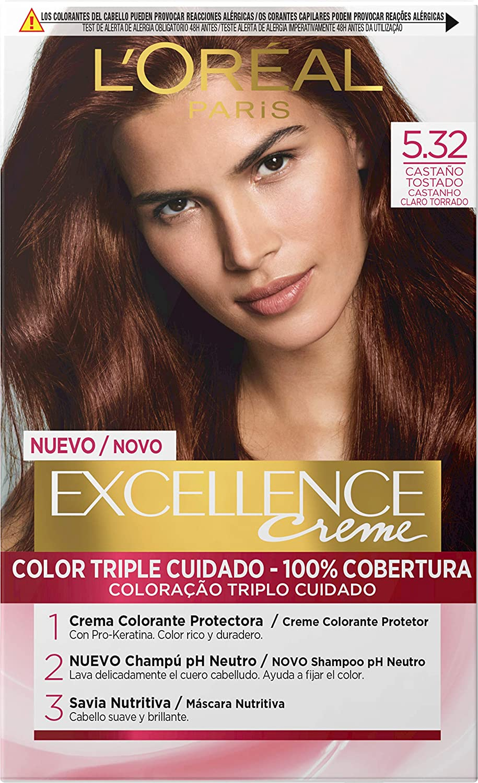 LOréal Paris Excellence - Crema Colorante Permanente Triple Cuidado con Pro-Keratina y Savia Nutritiva, Tono 5.32 Castaño Tostado