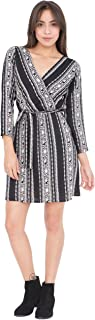 likemary Women's Classic Faux Wrap Dress Casual Long Sleeve Stripes and Floral Roses Printed Black