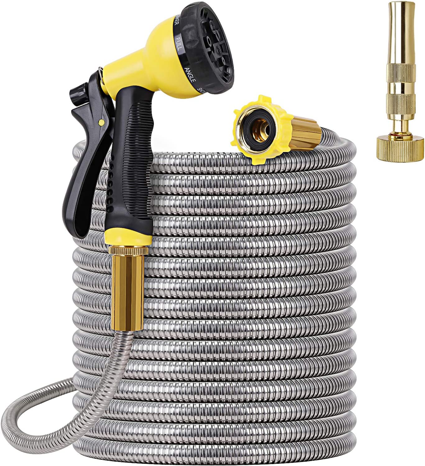 FOXEASE Metal Garden Hose 25FT- Stainless Steel Heavy Duty Water Hose with Solid Metal Nozzle &8 Function Sprayer, Portable & Lightweight Kink Free Yard Hose, Outdoor Hose