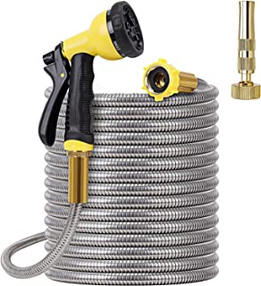 FOXEASE Metal Garden Hose 50FT - Stainless Steel Heavy Duty Water Hose with Metal Nozzle & 8 Function Sprayer, Portable & ...
