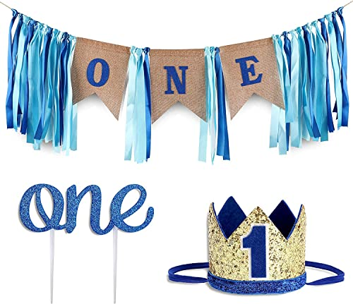 Baby 1st Birthday Boy Decorations WITH Crown - Baby Boy First Birthday Decorations High Chair Banner - Cake Smash Par...
