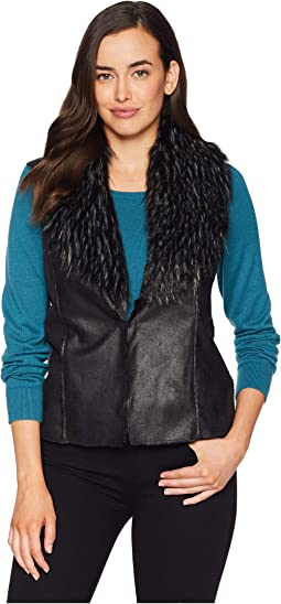 Faux Suede Fur Collar Vest