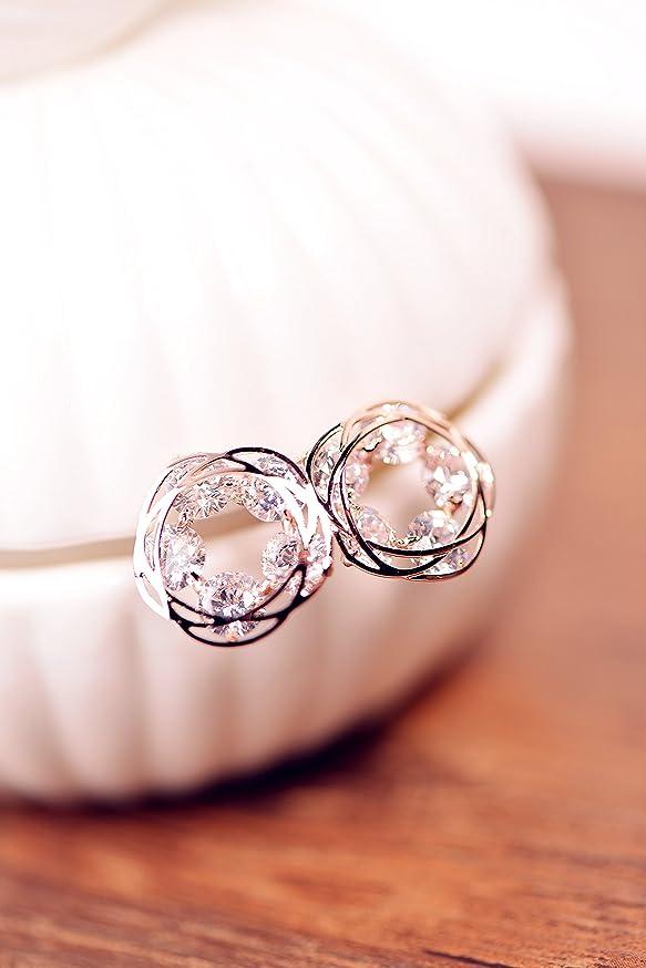 Zircon Pierced Earrings Earring Dangler Eardrop Five Leaves Flowers (b Rose Gold (Gold Plating)