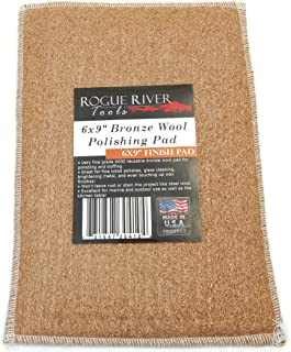 Rogue River Tools 6x9in Bronze Wool Polishing Buffing Cleaning Pad - Made in USA