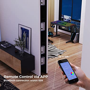 EUREKA ERGONOMIC RGB Gaming Desk, 43 inch Home Office Computer Desk with LED Lights APP Control Music Sync Color Changing, Bl