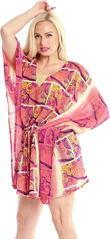 LA LEELA Women's Floral Print Swimwear Cover Up Sheer Beachwear Vacation Top D