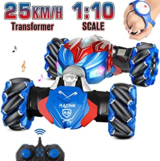 NQD RC Car, 1:10 Large Off Road Remote Control Monster Truck, Gesture Sensing Double Sided Remote Control Car with Cool Li...