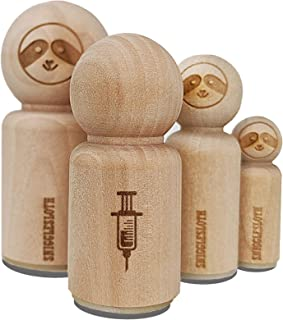 Medical Syringe Rubber Stamp for Stamping Crafting Planners - 1/2 Inch Mini