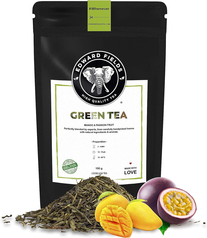 Edward Fields Tea ® - Té verde orgánico a granel con Mango y Maracuya. Té bio recolectado a mano con cúrcuma, jengibre e ingredientes naturales. 100 gramos, China.