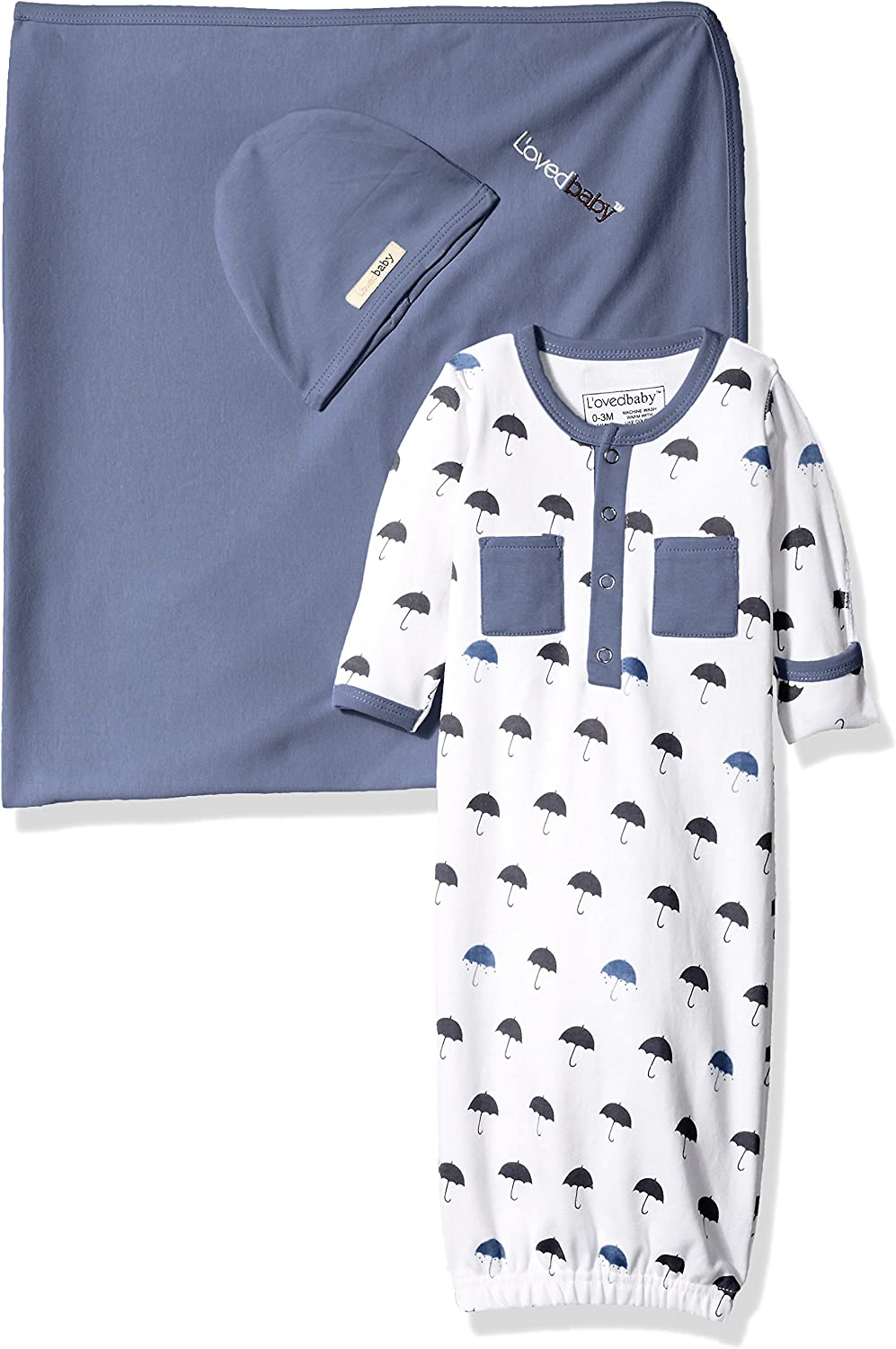 L'ovedbaby Unisex Baby Organic Cotton Blanket, Hat, and Gown