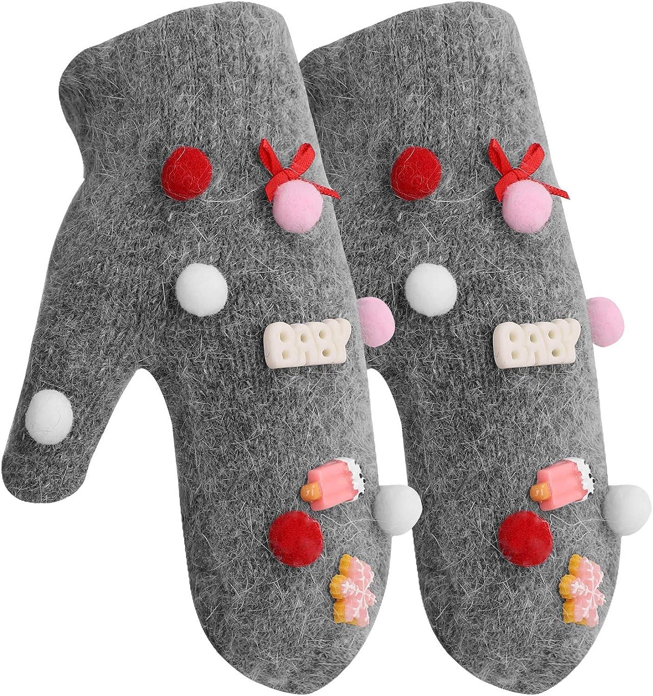 Christmas Gloves for Kids Girls Soft Fur Warm Rabbit Kansas City Mall Knitted sale Win