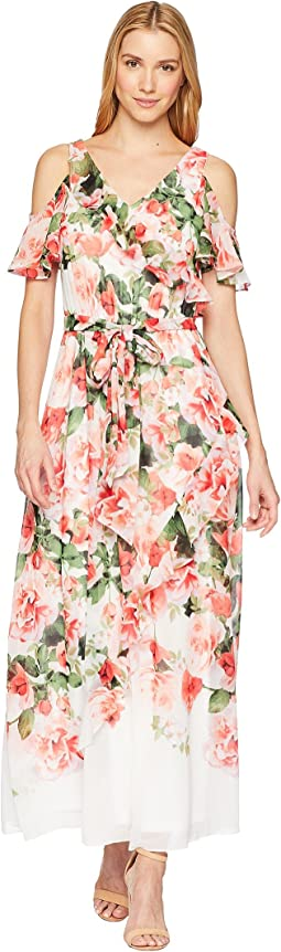 Calvin Klein Cold Shoulder Ruffle Maxi Dress