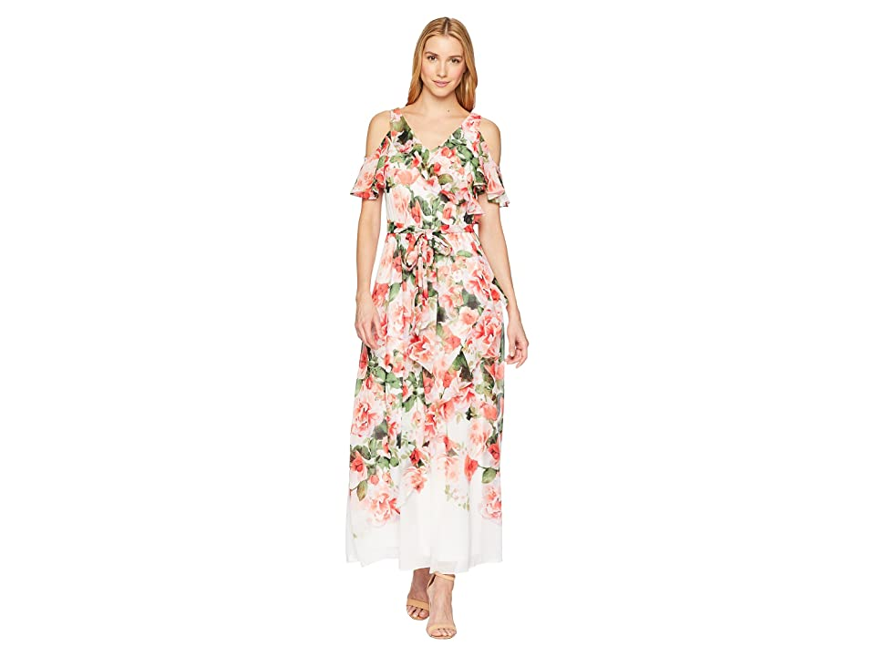 Calvin Klein Cold Shoulder Ruffle Maxi Dress (White/Opal Multi) Women