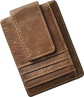 Le'aokuu Genuine Leather Magnet Money Clip Credit Card Case Holder Slim Handy Wallet (Light Brown 3)