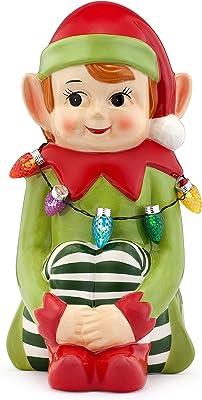 "Mr. Christmas Medium Ceramic Figures 10.5"" - Elf Christmas Décor, Green"