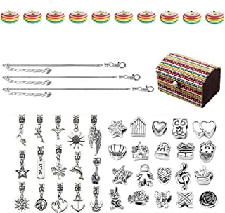 Bracelet Making Kits with Coloured Bead Silver Plated Chain. Girls Charm Bracelet Making Kit- DIY Charm Bracelet Making Se...