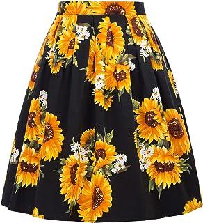 GRACE KARIN Falda Plisada Estampada Floral/a Lunares Vintage