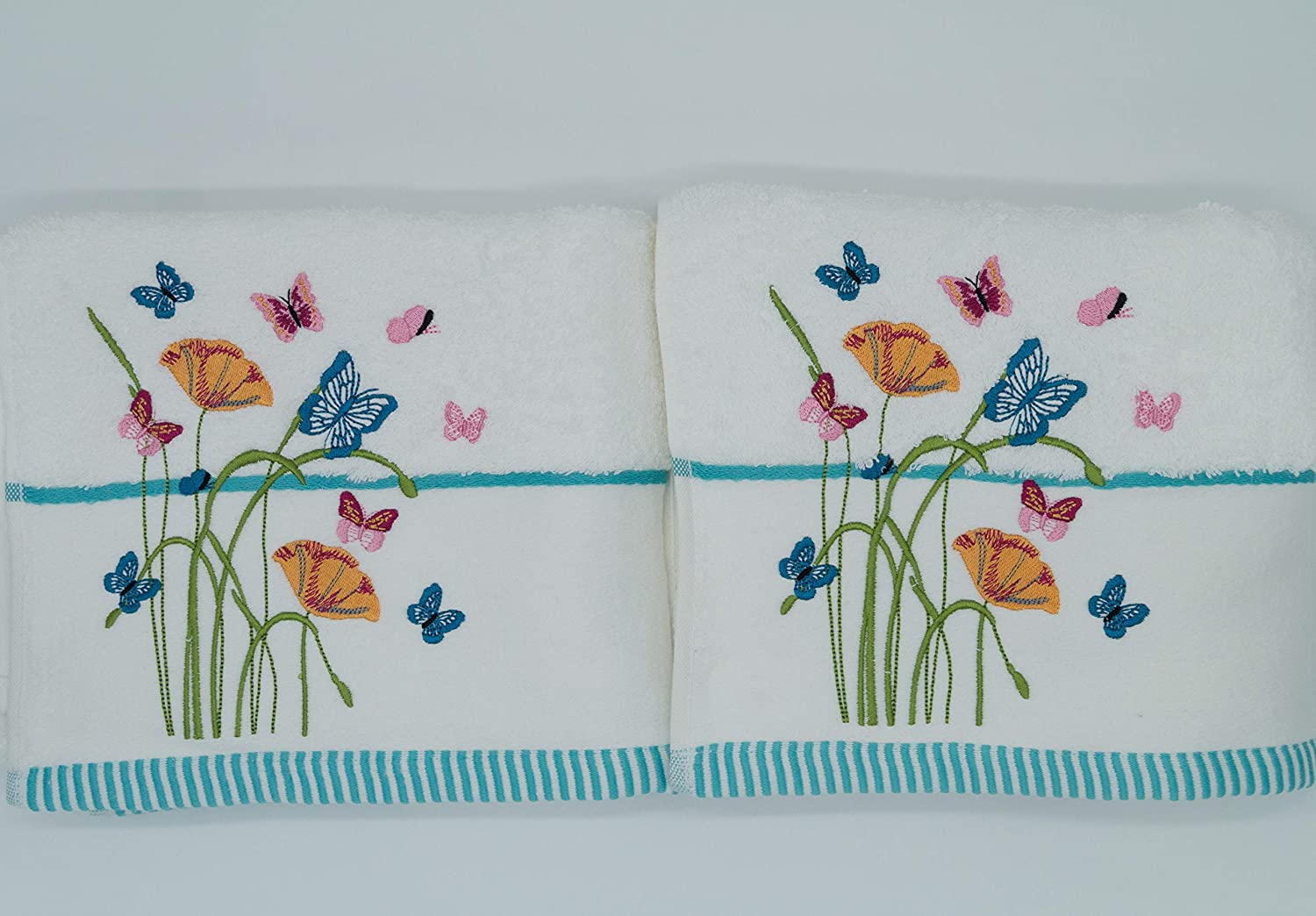 Pack of 2 Floral /& Butterfly Embroidered Towels Flannels
