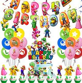 Super Mario Birthday Party Supplies Pack Includes Banner Cake Topper 24 Cupcake Toppers 14 Balloons Hanging Swirls for Sup...