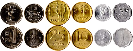 Israel 6 Coins Set 1960 UNC 1 AGOROT - 1 SHEQEL Collectible Coins from Middle East. Old Foreign Currency for Coin Collecting. Perfect Choice for Your Coin Bank, Coin Holders and Coin Album