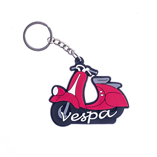 AVI Multi-Colour Rubber Keychain Double Sided Red for Vespa Fans Design