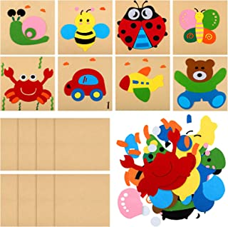 8 Pieces Animals Felt DIY Ornaments Set Felt Toys Includes Bears, Bees, Butterflies, Snails, Airplanes and Cars Self-adhes...