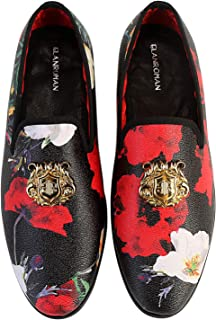 ELANROMAN Men's Gold Buckle Dress Loafers Luxury Fashion Party Shoes