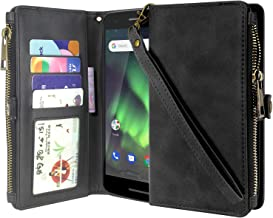 Nokia 2V (Verizon) Case, Lacass Premium Leather Flip Zipper Wallet Case Cover Stand Feature with Card Holder and Wrist Strap for Nokia 2V (Verizon) (Black)