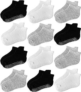 Jamegio 6/12 Pairs Anti Slip Toddler Socks Non Skid Ankle Socks with Grips for Baby Toddler Kids Boys Girls
