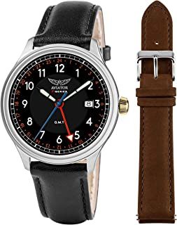 AVIATOR F-Series Men's Vintage Flight Pilot Dual Time GMT Quartz with Two Interchangeable Genuine Leather Straps Black and Brown Watch Set