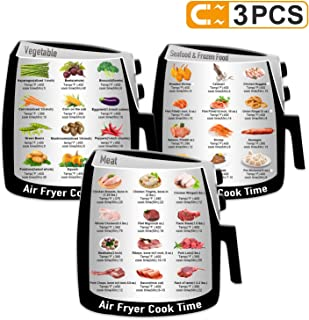 3 Pack Air Frying Cook Time Chart Guide Recipes CookBook, More Food Types Food Images Magnetic Cheat Sheet, Quick Reference Guide for Common Food Materials, Best Gift for Husband, Wife, Mom, Daughter