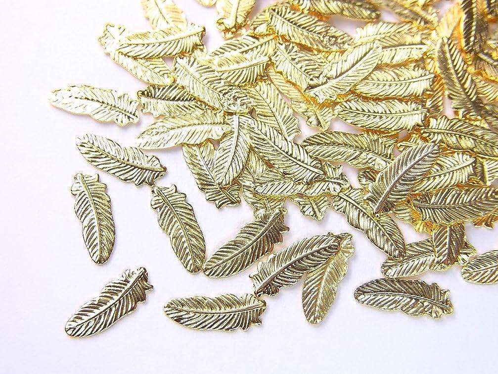 教えて強制政府【jewel】薄型ネイルパーツ フェザー大 約8.2mm×3mm 10個入りゴールド 手芸 素材 アートパーツ デコ素材