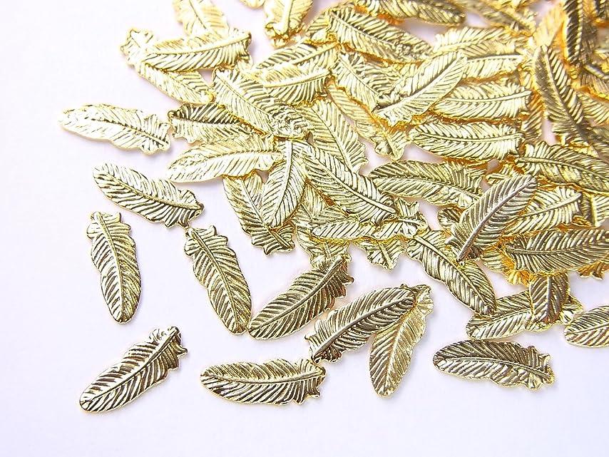 いらいらする寝るぼろ【jewel】薄型ネイルパーツ フェザー大 約8.2mm×3mm 10個入りゴールド 手芸 素材 アートパーツ デコ素材