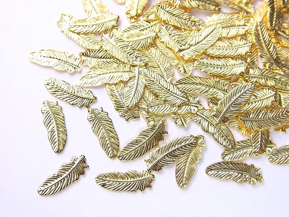 弱まる自動または【jewel】薄型ネイルパーツ フェザー大 約8.2mm×3mm 10個入りゴールド 手芸 素材 アートパーツ デコ素材