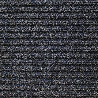 House, Home and More Heavy-Duty Ribbed Indoor Outdoor Carpet with Rubber Marine Backing - Stormy Blue - 6 Feet X 10 Feet