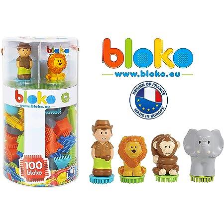 BLOKO – Tube de 100 BIoko avec 4 Figurines 3D Jungle – Dès 12 Mois – Fabriqué en Europe - Jouet de Construction 1er âge – 503618