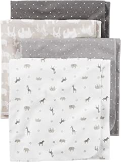 Carter's Baby 4-Pack Flannel Receiving Blankets, Taupe Jungle, One Size